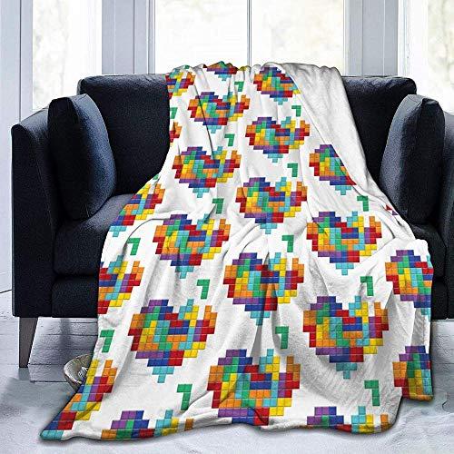 DWgatan Couverture,Couvre-lit de canapé Polyvalent Doux et Chaud de qualité Colorful Heart Valentine Love Printed Blanket for Bedroom Living Room Couch Bed Sofa -50\