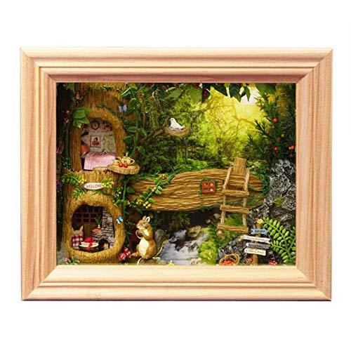 Zerodis Puppenhaus Kit Persönlichkeit Nuts Station DIY Holz Montieren Fotorahmen Modell Kreative Raum mit Möbel für Romantische