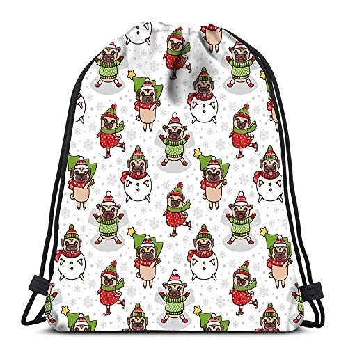 Kkyoxdiy Drawstring Bags Winter with Dogs Breed Pug Play Games Sculpt Snowman Skate Make Snow Angel Beach Rucksack