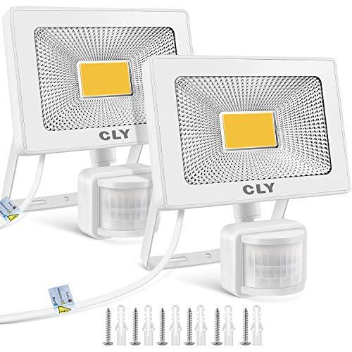 CLY LED Strahler mit Bewegungsmelder,20W LED Scheinwerfer 1800LM IP66 Wasserdicht, Außenstrahler Superhelle, LED Fluter Sensorleuchten für Garten, Hinterhof, Garage, Türen [Warmweiß 2 Stück]