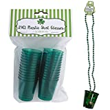 Disposable Shot Glasses (24ct) with 1 Random Shot Glass Necklace for St. Patrick's Day, St Patricks Day Necklaces, Plastic Shot Glasses, Shot Glass Bead Necklace, Party Shot Glasses