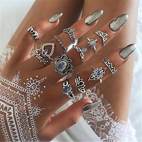 Yesiidor 13stück Midi Ringe Set Silber Für Frauen Damen Retro Fingerring Nagel Finger