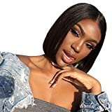 "Fle Hair 10"" Straight Lace Front Wigs Middle Part Short Bob Wigs For Women Brazilian Human Hair Wigs Natural Color"