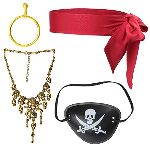 Beelittle 4 Pezzi Set Accessori Costume Capitano Pirata Sciarpa Cravatta Testa Rossa Avvolgere Bandana Pirate Eye Patch Orecchino d'oro Collana Kit Accessori Pirata (B)