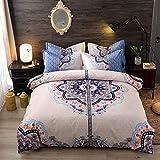 BH-JJSMGS Bedruckter Bettbezug und Kissenbezug, vierteilige Bettwäsche aus Leichter Mikrofaser, mit Reißverschluss, beige 200 * 230 cm