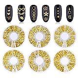 Kalolary Nail art strass unghie in metallo 3D punk strisce cuore nido moderno scava fuori stelle luna floreale e piante rivetti gemme punk unghie artistiche gioielli decorazione fai da te (6 scatole)