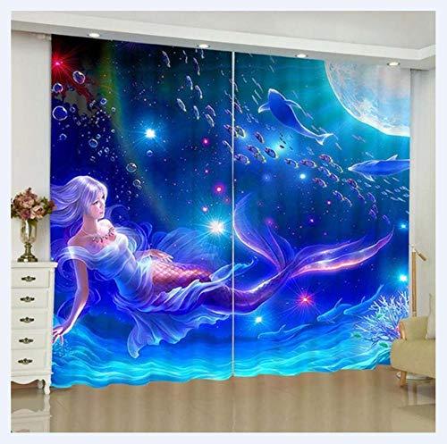 2er Set Blaue Meerjungfrau Vorhang mit Ösen, Gardine aus Polyester Wärmeisolierender Blickdicht, für Schlafzimmer Wohnzimmer Babyroom,140Wx160H.