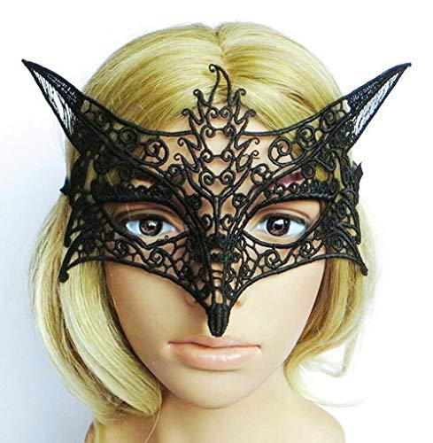 Carryme Head Masker, emwel rubber paard gezicht latex hoofd masker dier hoofd masker nieuwigheid kostuum maskers met bont manen Eye Mask Lace Mask - Black 2