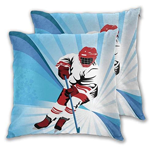 FULIYA Funda de cojín decorativa, diseño de jugador de hockey que hace un tiro fuerte en la meta, rival ilustración abstracta, funda de cojín de 55,8 x 55,8 cm para el hogar, sofá o dormitorio.
