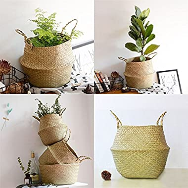 RISEON Natural Seagrass Belly Basket Panier Storage Plant Pot Collapsible Nursery Laundry Tote Bag with Handles (13  (32x28cm))