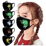Modelife 5 Stück Kinder Mundschutz mit Motiv Multifunktionstuch Schmetterling Print Maske Waschbar Wiederverwendbar Stoffmaske Baumwolle Mund-Nasen Bedeckung Atmungsaktiv Halstuch Schals