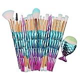 Shaoyao Brochas de Maquillaje,21 pcs Maquillaje Profesional Pinceles Maquillaje de Ojos Rubor Contorno de los Labios Corrector Brochas Cosméticas 21 Azul Pink