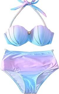 US Womens Mermaid Shell Bikini Sets Pearl Strap Halter Padded Push-up Swimsuit Beachwear