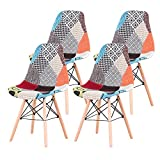 EGOONM Set di 4/6 sedie da Pranzo Scandinave Patchwork, Sedie da Soggiorno Sedie da Pranzo con Schienale con Cuscino Morbido (4PCS-Rosso 01)