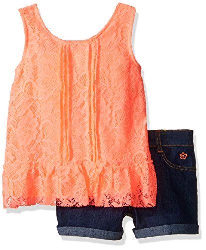Limited Too Girls' 2 Piece Fashion Tank and Short Set, KW79-Neon Light Coral, 5