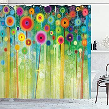 Ambesonne Flower Shower Curtain Abstract Dandelion Inspired Spiral Blooms Petals Geometrical Shapes Nature Art Theme Cloth Fabric Bathroom Decor Set with Hooks 75  Long Pale Green