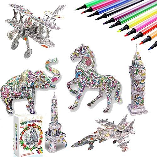 3D Puzzle zum Ausmalen für Kinder DIY Arts Crafts Puzzle Kit 3D Farbpuzzleset für Kinder Bastelset ab 6-12 Jahre Kinder Mädchen Jungen Geburtstag Geschenke