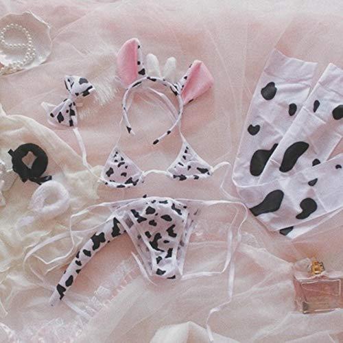 XYQQ 10 Uds Lolita Girl Cute Bikini Suit Ropa Interior Sexy Bra y Panty Conjunto de lencería Medias Anime Super Sonico Cow Cosplay Disfraz