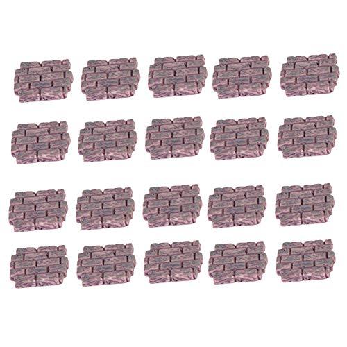 Lankater 20 Stück Gebäude-Ziegelstein-Wand Mini Bricks Miniatur-Verzierungen Feegarten Bonsai Dekorationen Puppenstubenzubehör