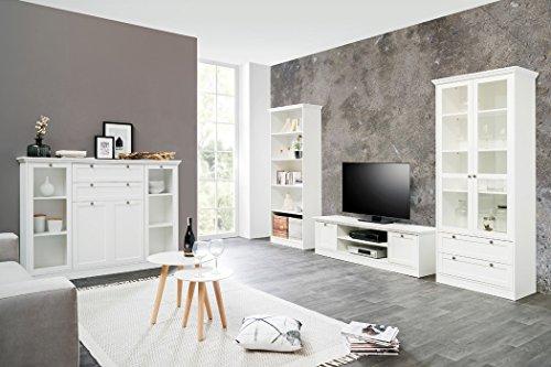 expendio Wohnzimmer Landström 151 weiß 4-teilig Lowboard Vitrine Highboard Bücherregal Landhausmöbel