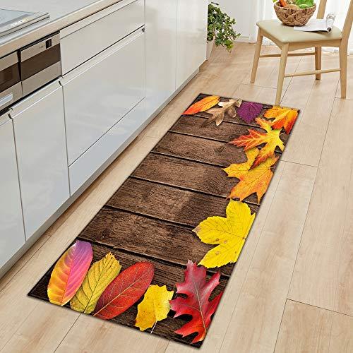 ZJMWQ 3D Küche Carpet Bodenmatte Saugfähige rutschfeste Teppich Bad Flur Tür Matte Rechteck Streifen Simulation Holzmaserung Carpet,T-60 * 90cm