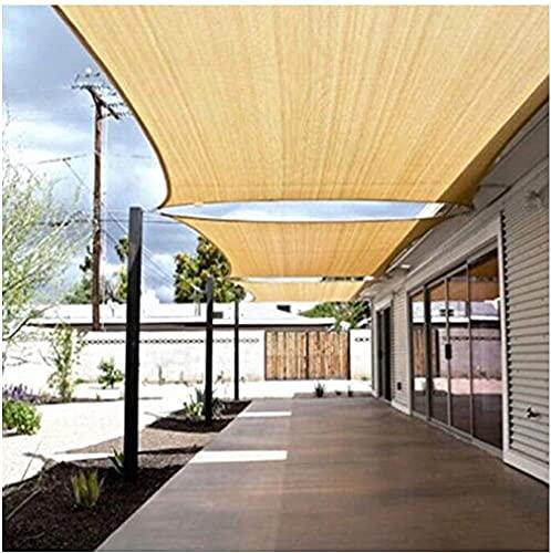 Toldo Vela de Sombra protección Rayos UV Impermeable para Patio Exteriores Jardín Toldo de Vela con Cuerdas Libres Color Arena 2m, 3m, 4m, 5m(Size:3 * 4m (10'*13'))