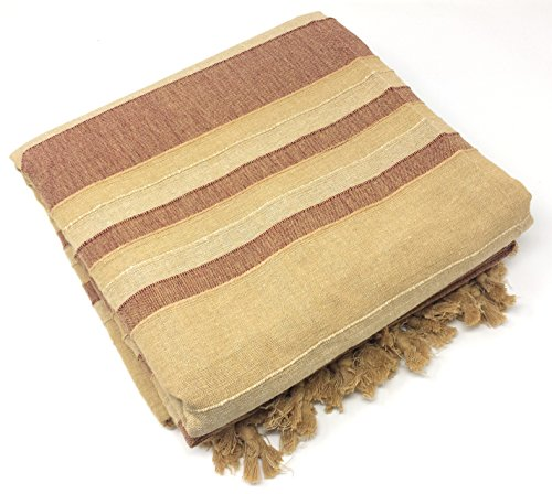 Agas Own Indische Tagesdecke XXL Sofaüberwurf Bettüberwurf Wohndecke Indien/India Baumwolle Decke 220x250 cm VIELE Varianten (Beige-braun)