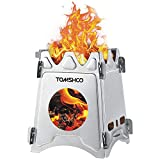 TOMSHOO Camping Wood Stove <span class='highlight'>Portable</span> Folding Lightweight <span class='highlight'>Stainless</span> <span class='highlight'>Steel</span> Wood Stove Backpack Stove for Outdoor Survival Cooking Picnic Hunting (<span class='highlight'>Stainless</span> <span class='highlight'>Steel</span>)