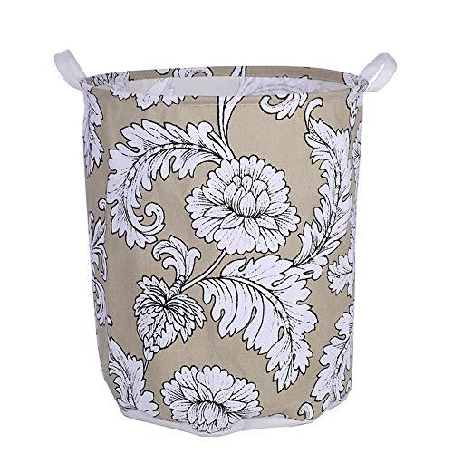 JOMSK Cesta de lavandería Grande para Dormitorio Patrón Peony Blanco de algodón y Lino de Almacenamiento del Cubo Grande Impermeable de la Cesta de lavadero Ropa Cesta de Almacenamiento