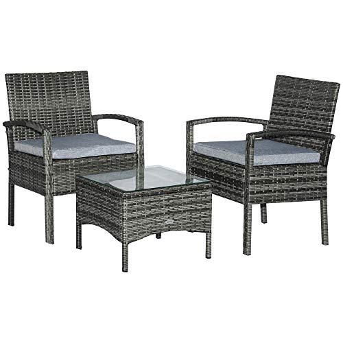 Outsunny 3PC Rattan Bistro Set Outdoor Wicker Sofa Chair Coffee Table Set Garden Patio Furniture w/Cushion - Grey