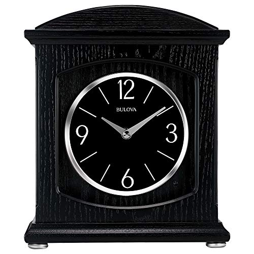 Bulova B6220 Lighted Dial Glendale Bluetooth Wireless Speaker Mantel Clock, Black