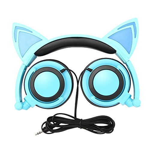 Cat Ear Headphones, GOGOING Kids Headphones with LED Flash Wired Mode, Foldable Game Headset fit Smartphones iPhone, Android Mobile Phone,Tablet PC, Computer Exc(Blue)
