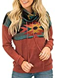 AlvaQ Women Sweatshirt Autmn Fall Long Sleeve Aztec Printed Colorblock Cowl Neck Drawstring Pullover Tunic Tops Fashion 2019 Red Medium