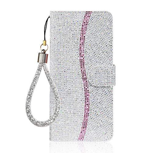 Ailisi Cover Samsung Galaxy S7 Edge, Bling Glitter Paillettes Flip Cover Custodia, Protettiva Case Leather Pelle PU Portafoglio con Kickstand, Chiusura Magnetica + 1 pezzo di cordino -Argento