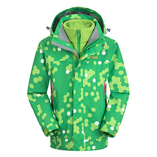 CIKRILAN Enfants 3 en 1 Coupe-Vent Imperméable Respirant Manteau Outdoor Veste de Camping Escalade avec Veste Polaire (Size 120, Vert)