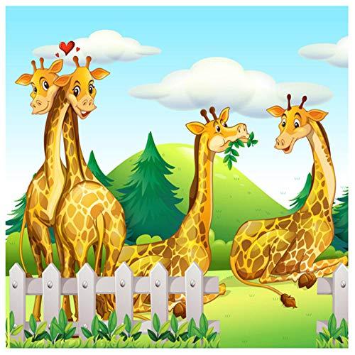 Fotobehang 3D Cartoon Geel Giraf Dier Niet-geweven PVC Slaapkamer Woonkamer Kinderkamer HD Art Achtergrond Muurdecoratie 200(w) x140(H) cm