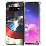 Galaxy S10 Case, Ailiber Captain America's Shield Super Hero Red Retro Thin Light Design Shock Absorption Soft TPU Bumper Protective Cover for Samsung Galaxy S10 6.1 inch - Captain Shield