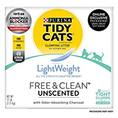 One (1) 17 lb. Box - Purina Tidy Cats Light Weight, Low Dust, Clumping Cat Litter, LightWeight Free & Clean Unscented, Multi Cat Litter Unscented cat litter that's free of fragrances and dyes Low dust for a clean, easy pour Ammonia Blocker prevents a...