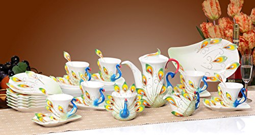 KingDao 21PCS China Porcelain Peacock Coffee Set Tea Cup Home Use Romantic Creative Present 6 Coffee Cups Sets 1 teapot 1 Milk Pot 1 Sugar Pot All 21pcs (Green)
