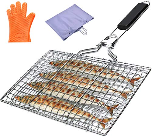 WINGSIGHT Foldable BBQ Grilling Basket with Removable Wooden Handle and Stainless Steel Portable Grilling Basket for Fish, Meat, Vegetables, Hamburger & Shrimp (with Rubber Anti Scald Gloves)