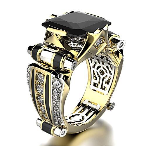 ANYIKE Domineering Ring Mode Creatieve Kleur Scheiding Engagement Mannen en Vrouwen Sieraden, US 12, Zwart