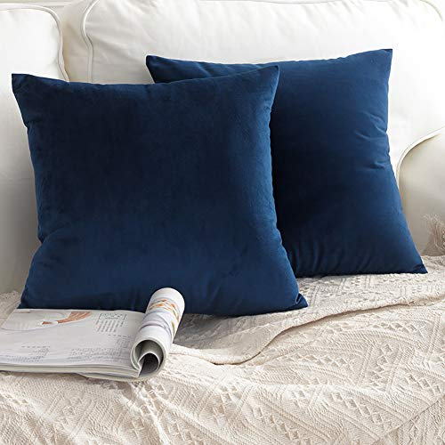 CCRoom Cushion Covers,Pack 2 of Decorative Throw Pillow Covers in Velvet Square Cushion Cases with Concealed Zip 18' x 18' 45cm x 45cm(Navy Blue)