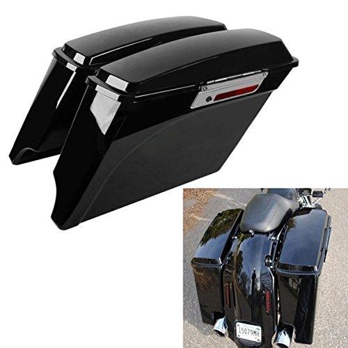 """TCMT 5"""" Hard Saddle Bags Extended Saddlebag Trunk + Lid Latch Keys Fits for Harley Touring FLH FLT Electra Glide Road King Ultra Street 1993 1994-2013"""