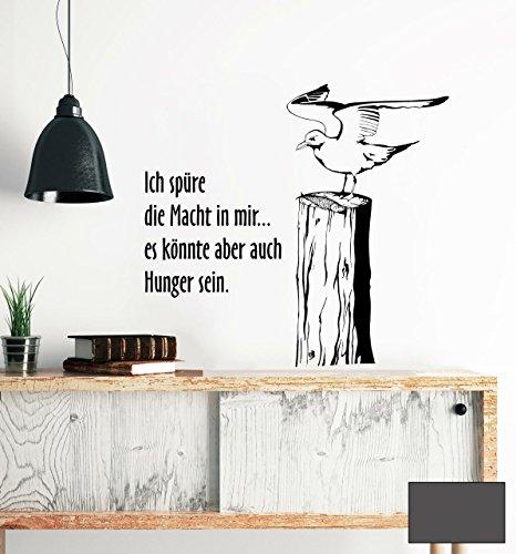 Wandtattoo Wandaufkleber Möwe maritim mit Fisch auf Buhne M1478 - ausgewählte Farbe: *Dunkelgrau* ausgewählte Größe: *L 70cm breit x 70cm hoch