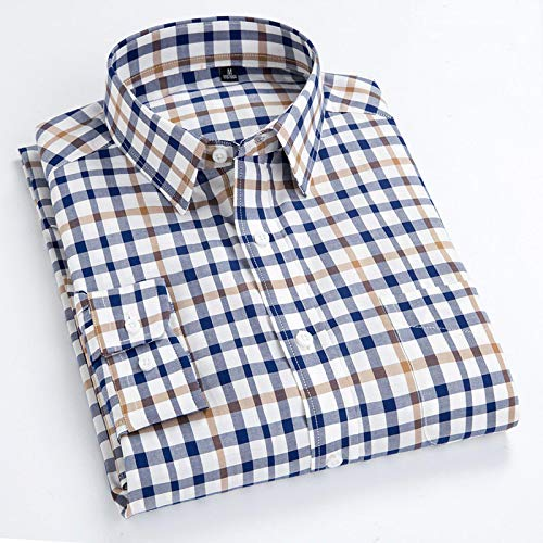 Hemd Herrenhemd 100% Baumwolle Plaid Style Langarmhemden Neuankömmling Soft Casual Turn-Down Kragen Slim Fit Shirt Herrenoberteile XL Bln18250150