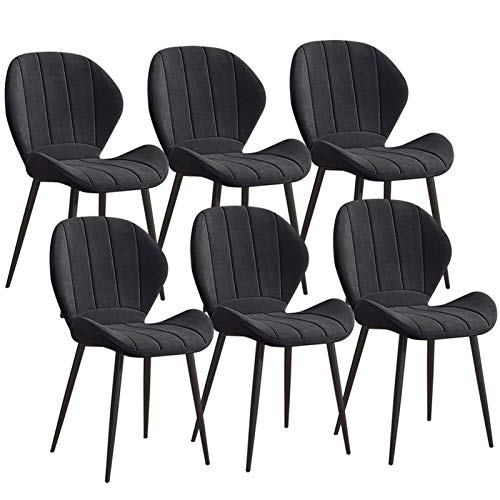 ZYXF Paquete De 6 Sillas Cocina Nórdicas Terciopelo Sillas Tapizadas 6X Sillas De Comedor Dining Chairs Silla De Oficina con Patas De Metal (Color : Black)