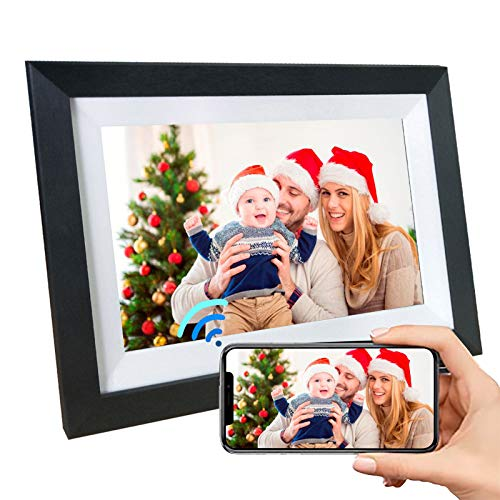 NPET Smart LCD Digital Picture Frame WiFi 10.1 Inch 16GB with IPS Touch Screen HD Display, Background Music Support 1080P Video, Easy Setup to Send Photos&Video Remotely via App More Secure Than Email Digital Frames Picture