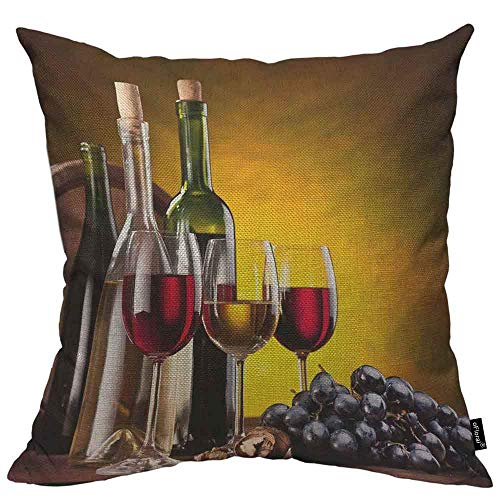 N\A Botella de Vino Funda de Almohada Funda de cojín Barriles de Vidrio y Roble Lino de algodón para sofá Cama Sofá Carch