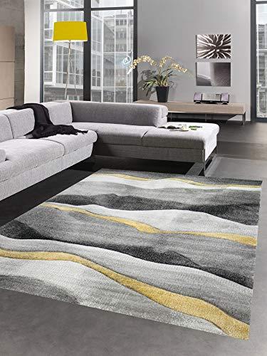CARPETIA Alfombra Moderna Alfombra salón diseño a Ola Oro Amarillo Gris Größe 120x170 cm