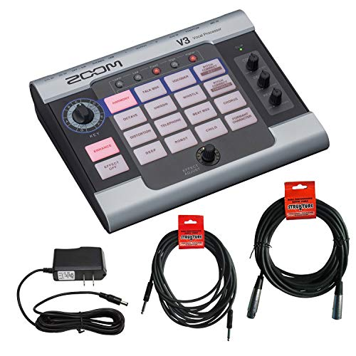 Zoom V3 Vocal Processor + 20 ft XLR Cable + 18.6 ft Instrument Cable + 9V Power Supply